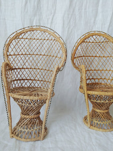Vintage Doll Size Peacock Chairs