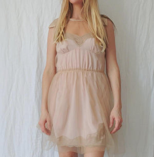 Blush Lace and Sheer Slip Dress