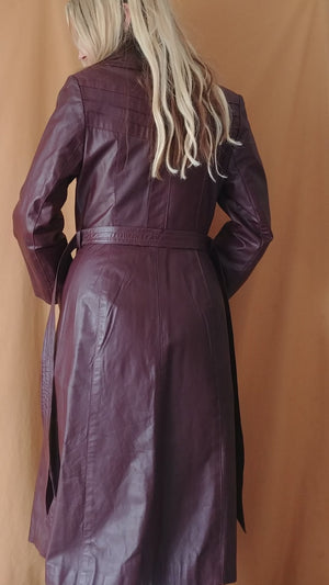 Vintage Merlot Leather Trench