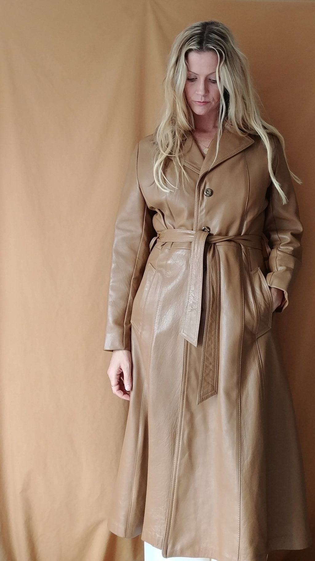 Vintage Tan Leather Trench