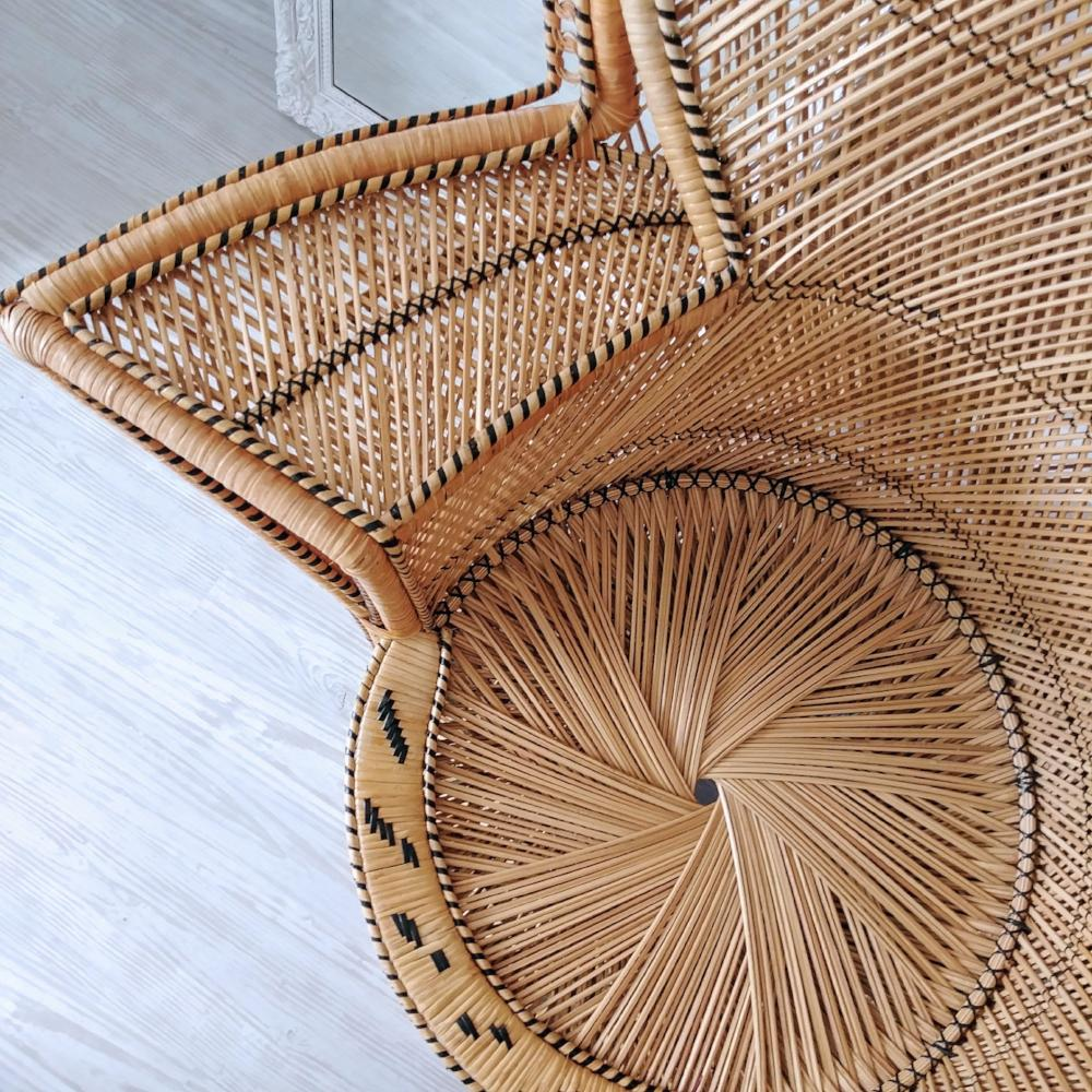 Natural Woven Peacock Chair w/ Black Details