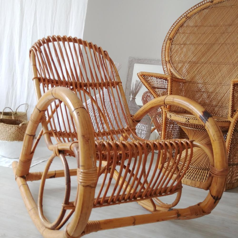 Franco Albini Style Bent Rattan Rocking Chair