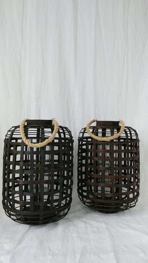 Woven Lantern w/ Glass (for pillar candle)