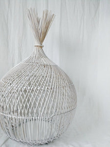 Indonesian White Woven Light Pendant Shade- Extra Large