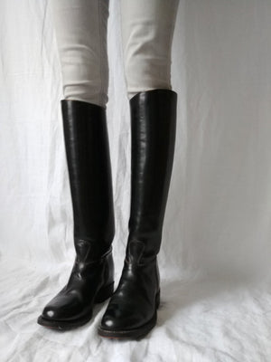 Vintage Black Leather Riding Boots