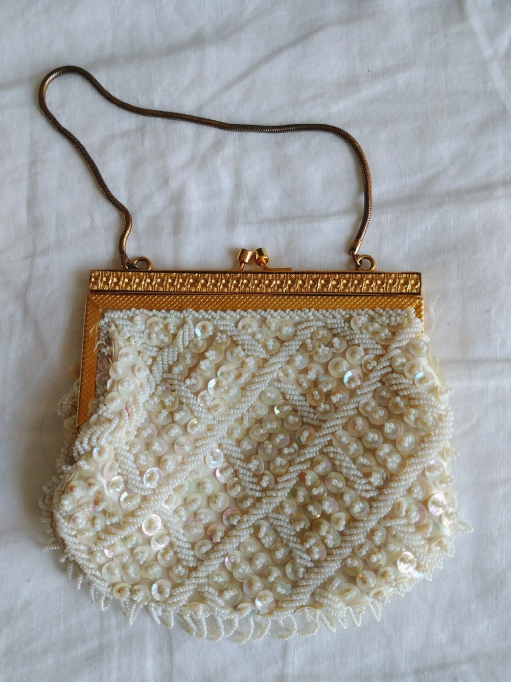 Vintage Beaded and Sequins Purse w/ Gold detail