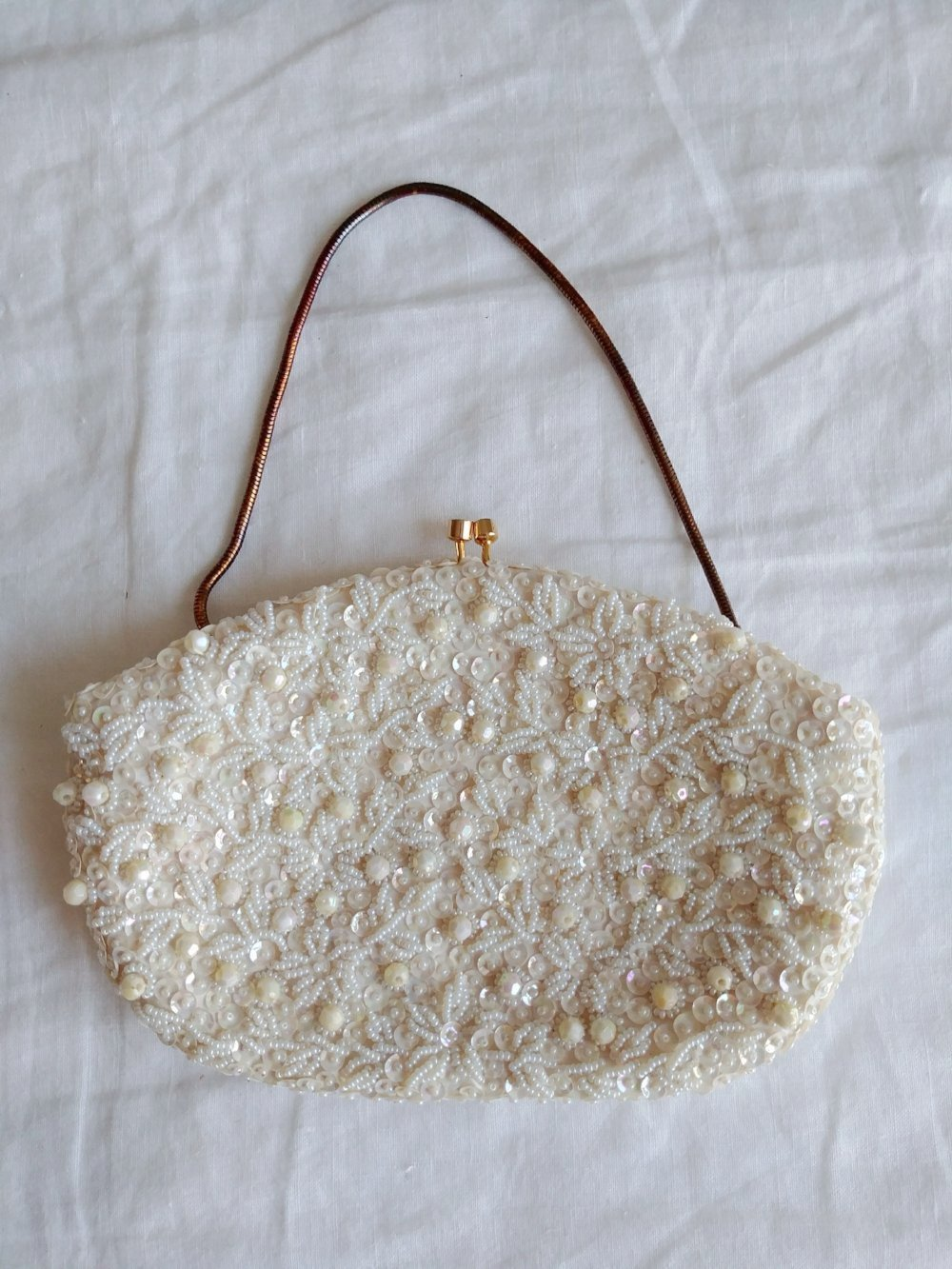 Vintage White Bead and Sequin Purse