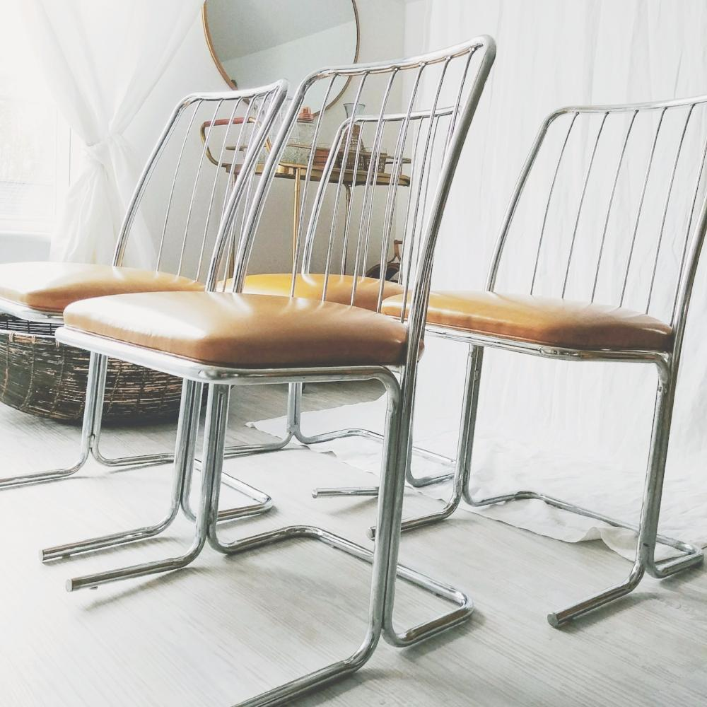 Mid-Century Modern Cantilevered Chairs - Set of 4