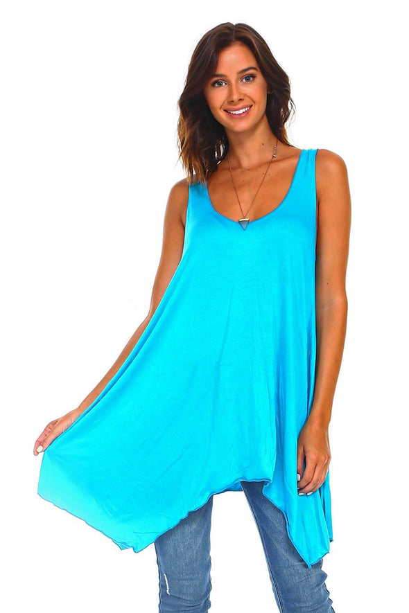 Turquoise Sleeveless Handkerchief Swing Tunic