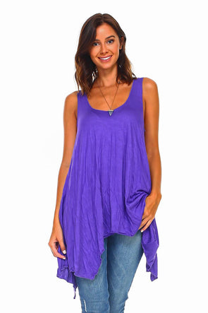 Purple Sleeveless Handkerchief Swing Tunic