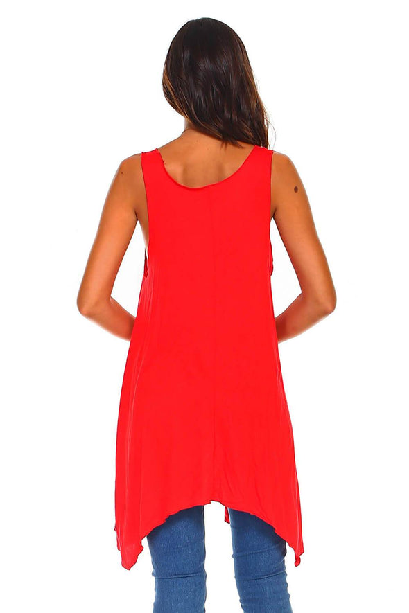 Red Sleeveless Handkerchief Swing Tunic Dress