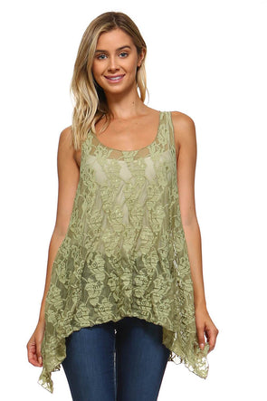 Sage Sleeveless Lace Handkerchief Swing Tunic