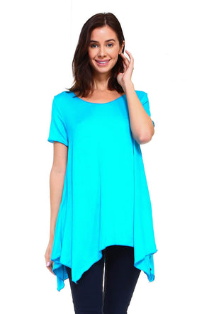 Turquoise Short Sleeve Handkerchief Swing Top