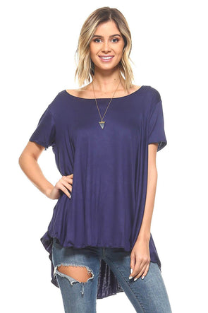 Navy Blue Short Sleeve High Low Flowy Tunic