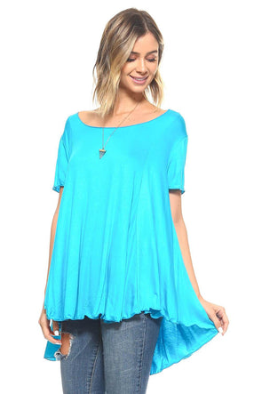 Turquoise Short Sleeve High Low Flowy Tunic