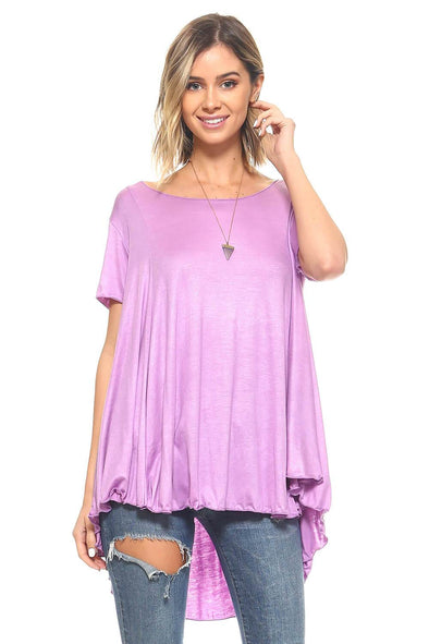 Orchid Short Sleeve High Low Flowy Tunic