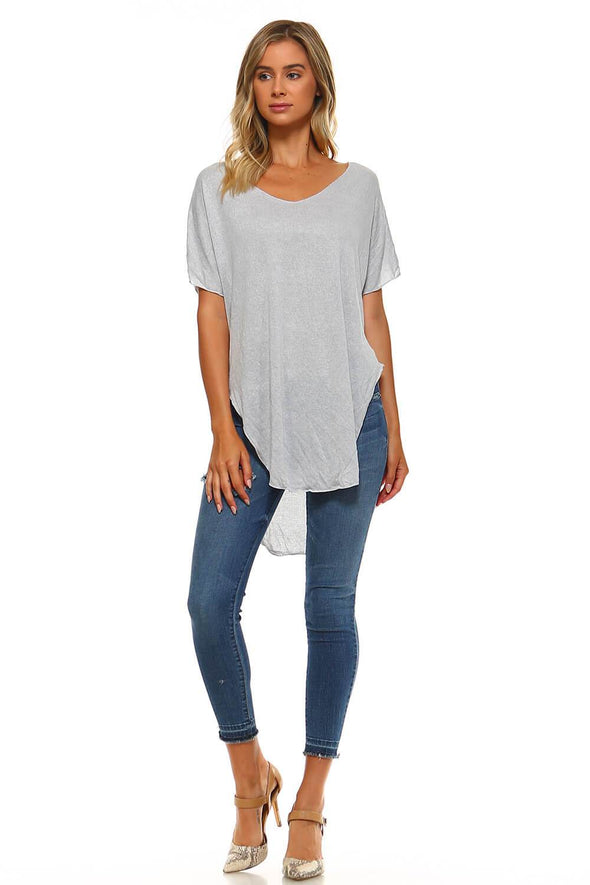 Silver Slub Short Sleeve Tunic Top