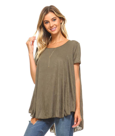 Olive Short Sleeve High Low Flowy Tunic