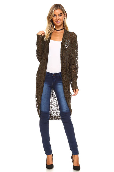 Olive Plus Size Chenille Lace Cardigan