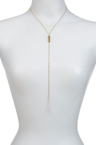 Gold Cube Y Necklace