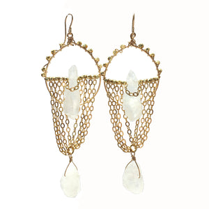 White Quartz Chandelier Hoops