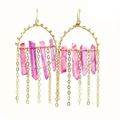 Purple Quartz Strand Hoops