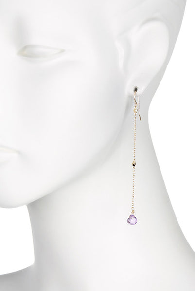 Purple Crystal Strand Earrings