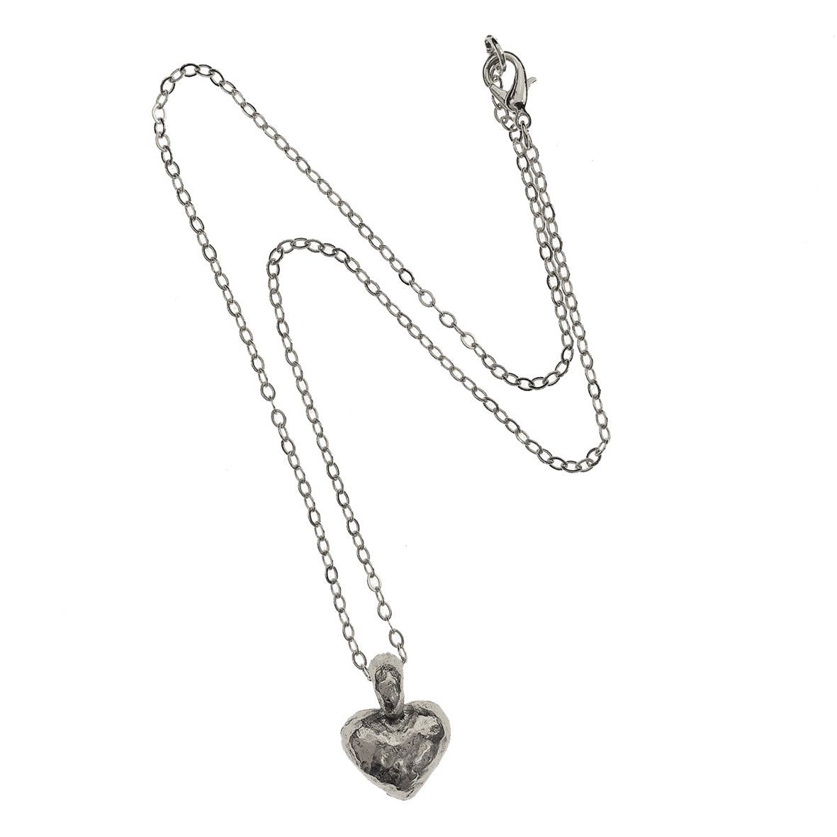 Silver Hammered Heart Necklace