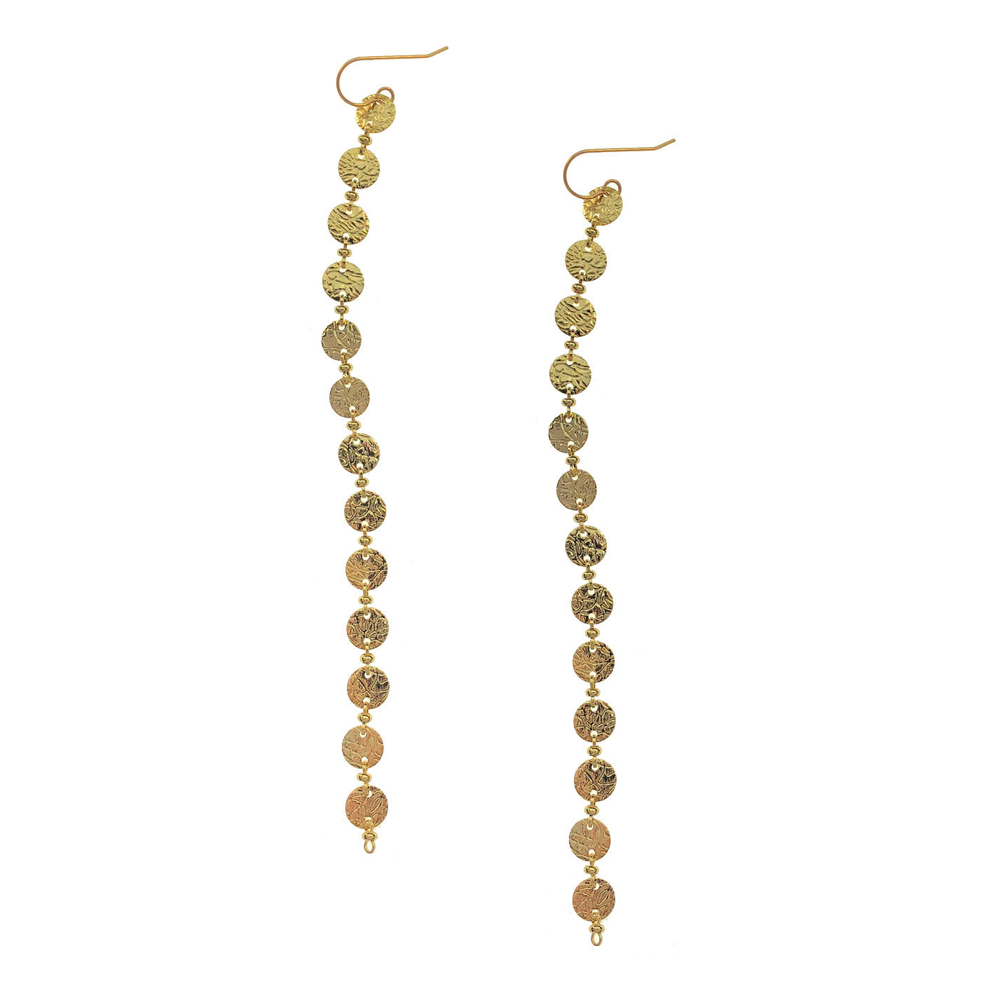 Textured Coin Strand Earrings