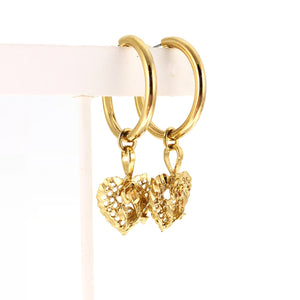 Filigree Rose Heart Hoops