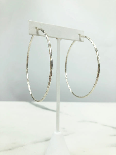 "Large 3"" Twisted Hoops"