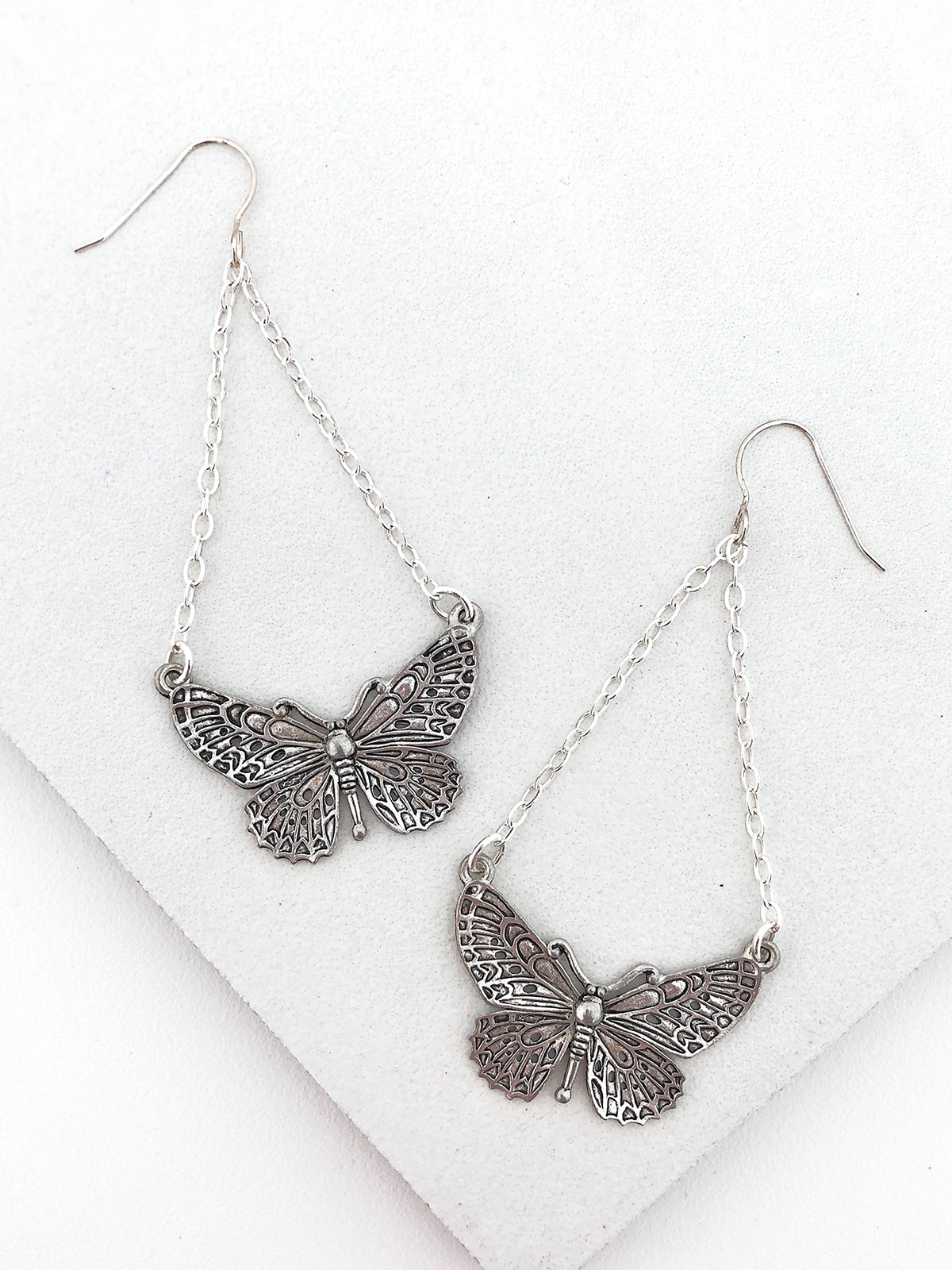 Silver Butterfly Chandelier Earrings