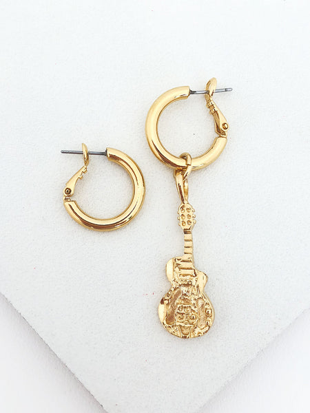 Single Guitar Charm Hoops