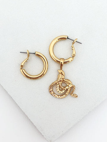 Single Cobra Charm Hoops