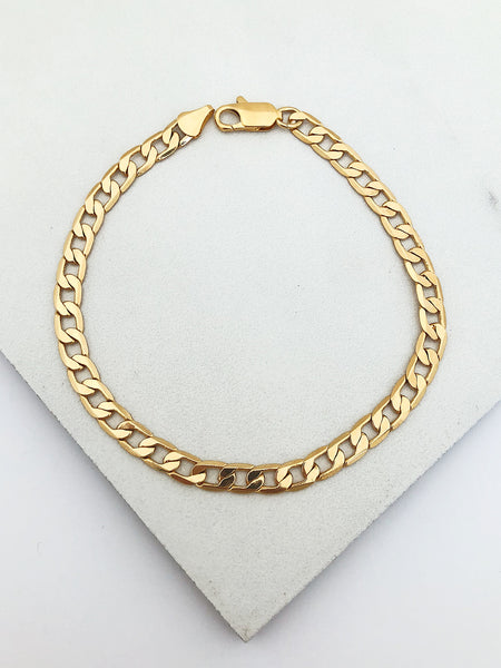 Wide Link Cuban Anklet
