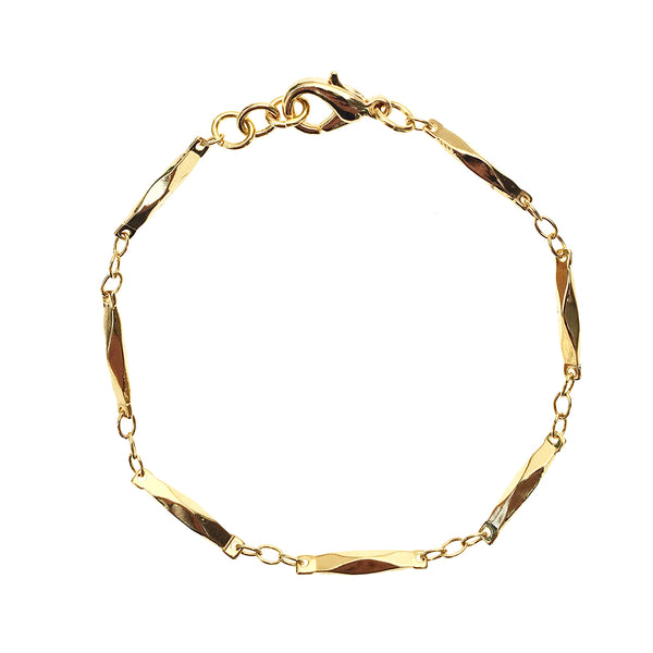 Gold Faceted Bar Bracelet