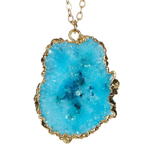 Gold Dipped Teal Geode Necklace