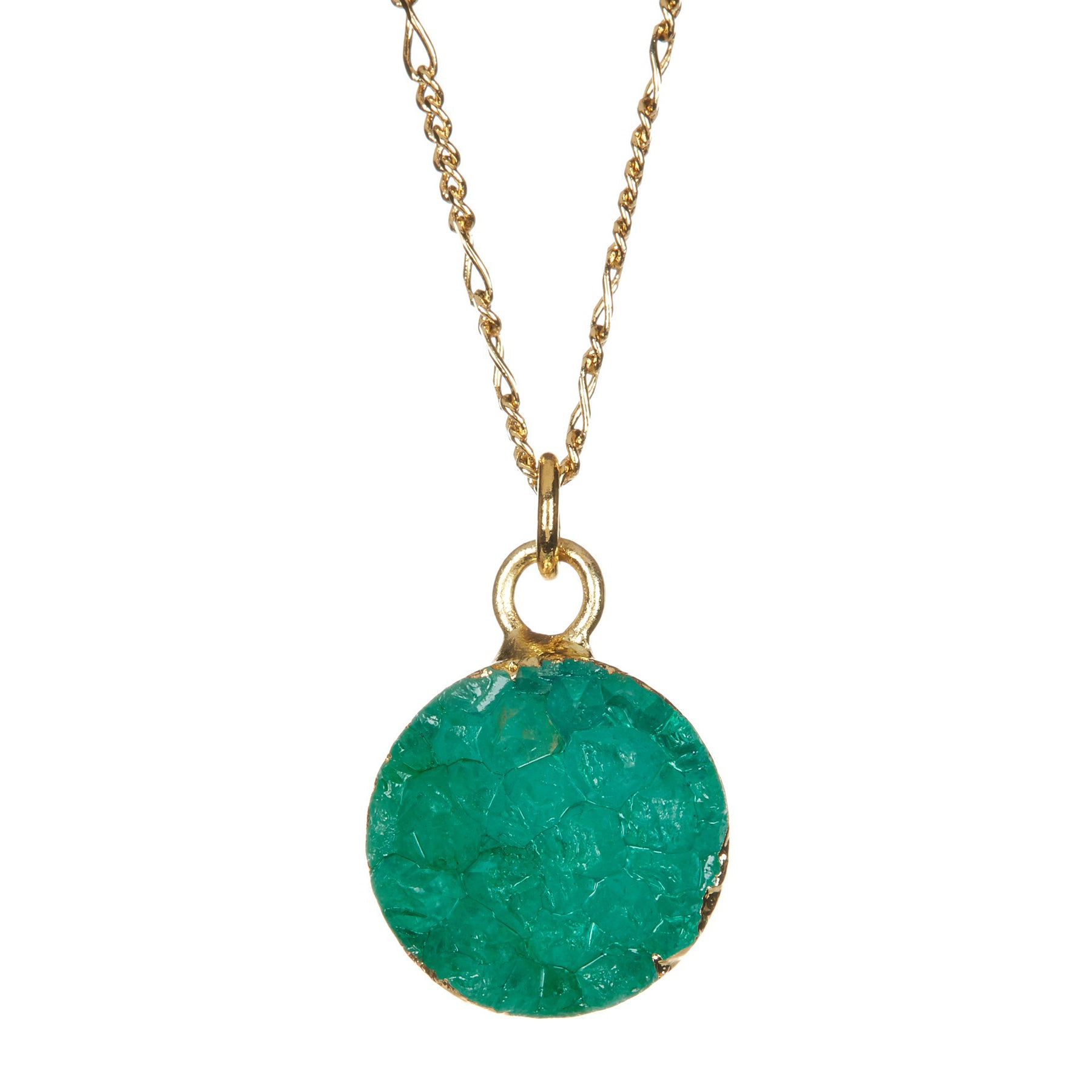 Round Green Druzy Necklace