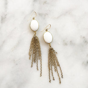 White Onyx Strand Earrings