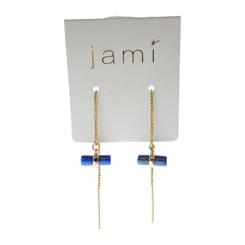 Blue Lapis Threader Earrings