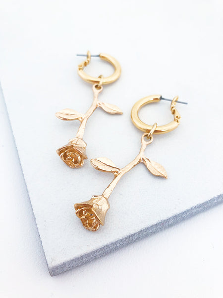 Rose Drop Hoops