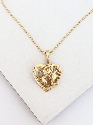 Filigree Rose Heart Necklace