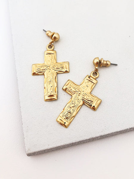 Filigree Cross Earrings