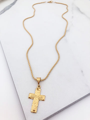 Long Filigree Cross Necklace