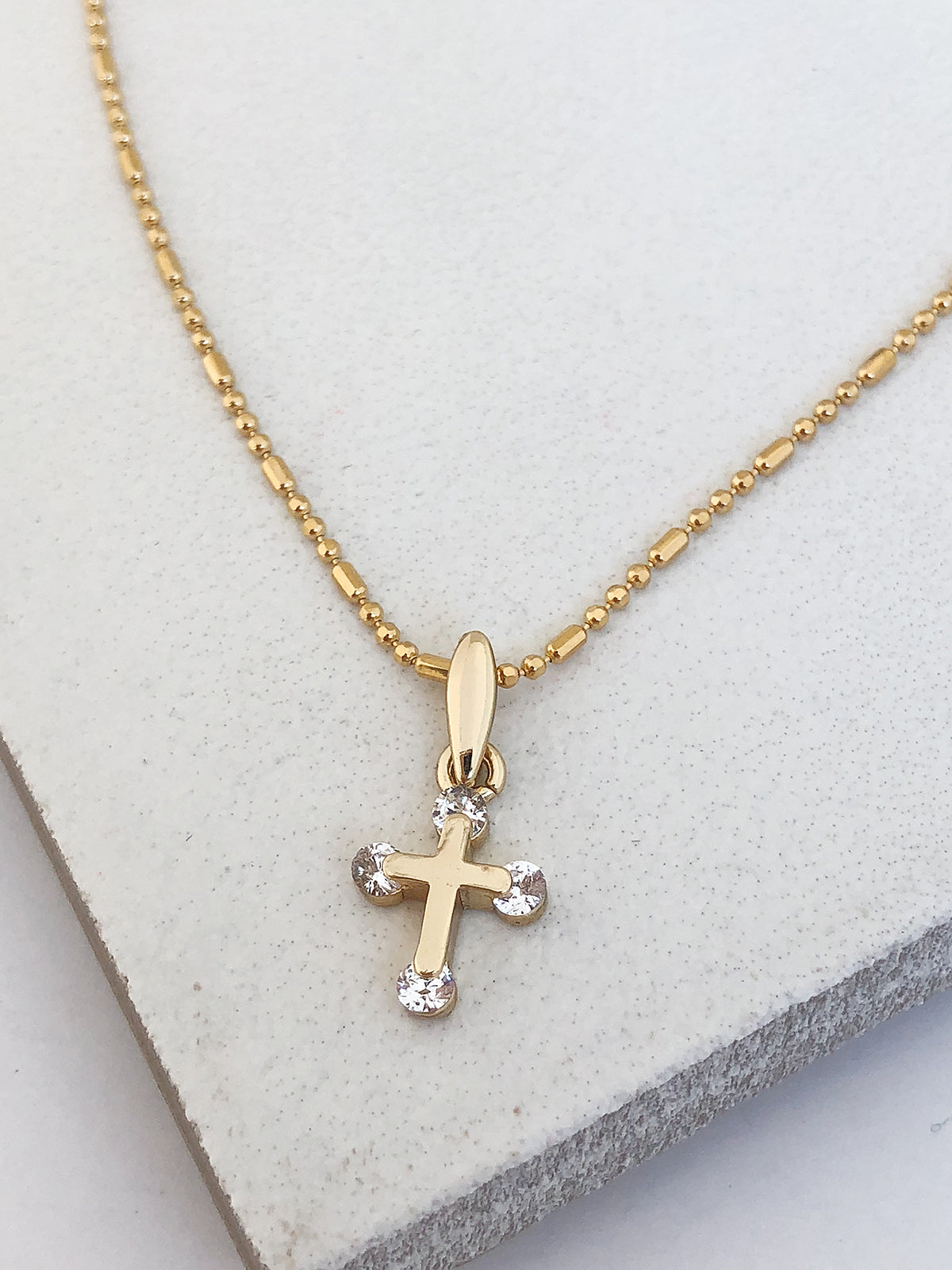Tiny Crystalized Cross Necklace