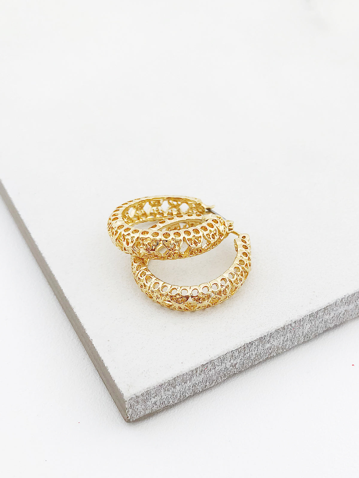 Gold Filigree Hoops
