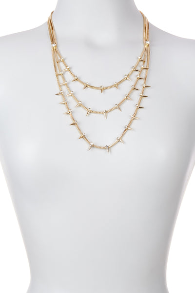 Triple Layer Spike Necklace
