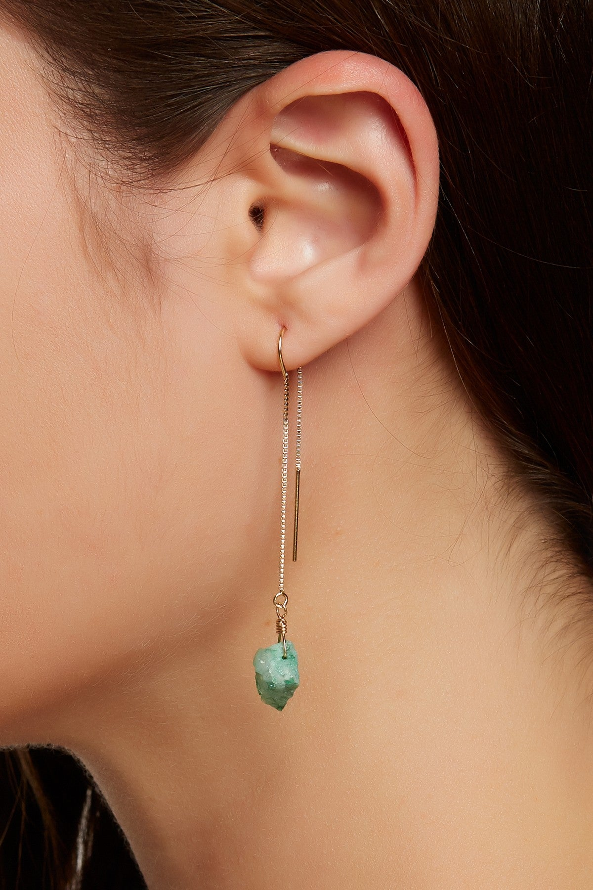 Green Druzy Threader Earrings