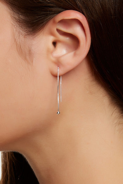 Sterling Silver Box Chain Threader Earrings