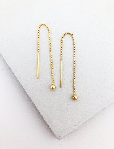 Gold Filled Box Chain Threader Earrings